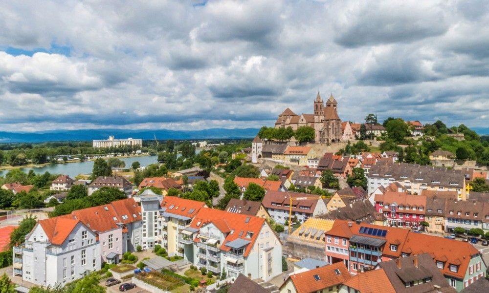 Aerial view of city Breisach